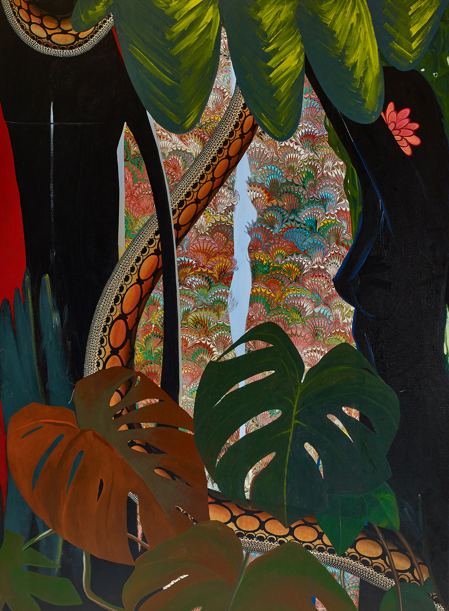 figures with snake and philodendron