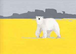 watercolor of polar bear with yellow earth