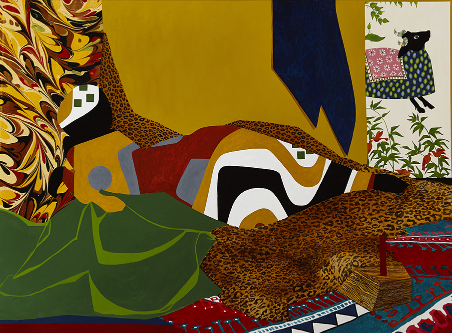 Figure with pattern based on designs by Brazilian architect Roberto Burle Marx and areas of marbling, based on the painting of a reclining odalisque by Eugene Delacroix
