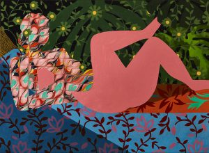 Pink Nude with Marbled Pattern based on Matisse painting Reclining Nude